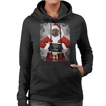 Christmas Mugshot Samuel L Jackson Women's Hooded Sweatshirt