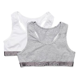 Calvin Klein Girls 2 Pack Customized Stretch Bralette - White/Grey