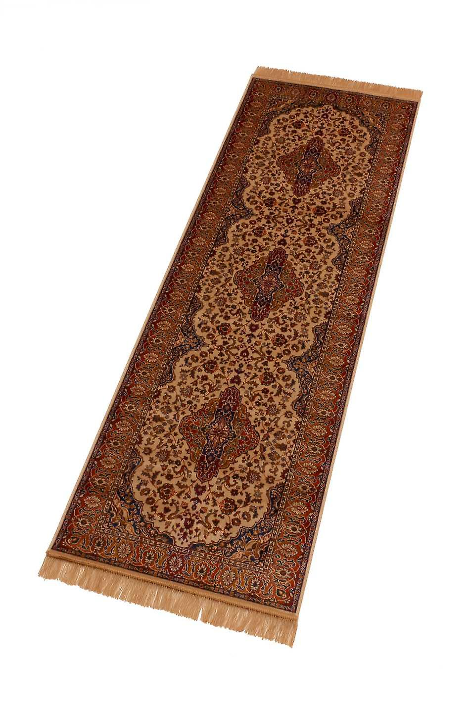 Persian Medallion Artsilk Faux Silk Effect Hall Runner Rugs 9099/4