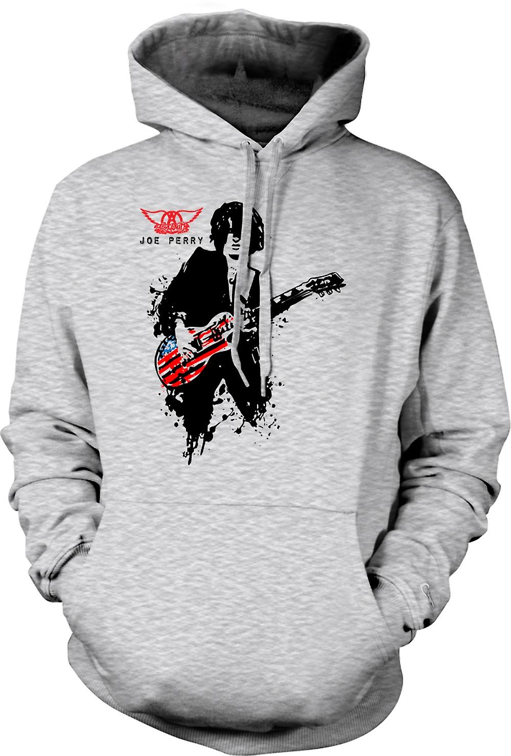 Mens Hoodie - Aerosmith - Joe Perry - Guitar