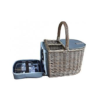 Two Bottle Wicker Beach Picnic Basket