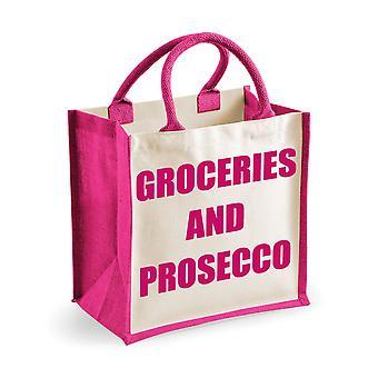 Épicerie de sac de Jute rose moyen et du Prosecco