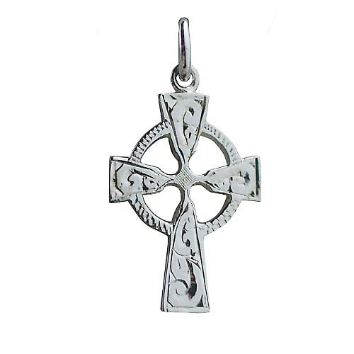 9ct White Gold 23x16mm hand engraved Celtic Cross