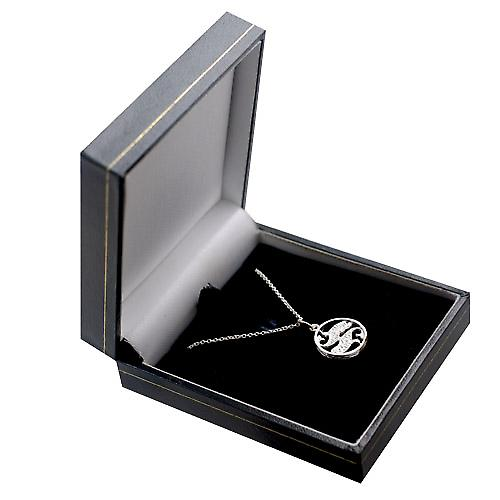 Silver 11mm pierced Pisces Zodiac Pendant with a rolo Chain 14 inches Only Suitable for Children