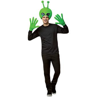 Adult Alien Head & Hands Kit Space Novelty Funny Fancy Dress Costume