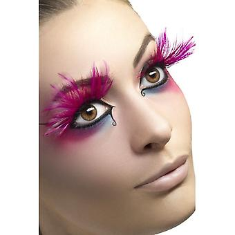Womens Pink Feather Eyelashes With Glue Fancy Dress Accessory