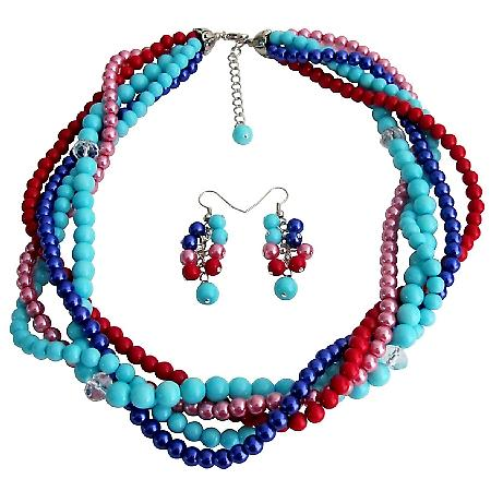 Summer Beach Multi Color Pearls Five Strand Braided Necklace With Dangling Earrings