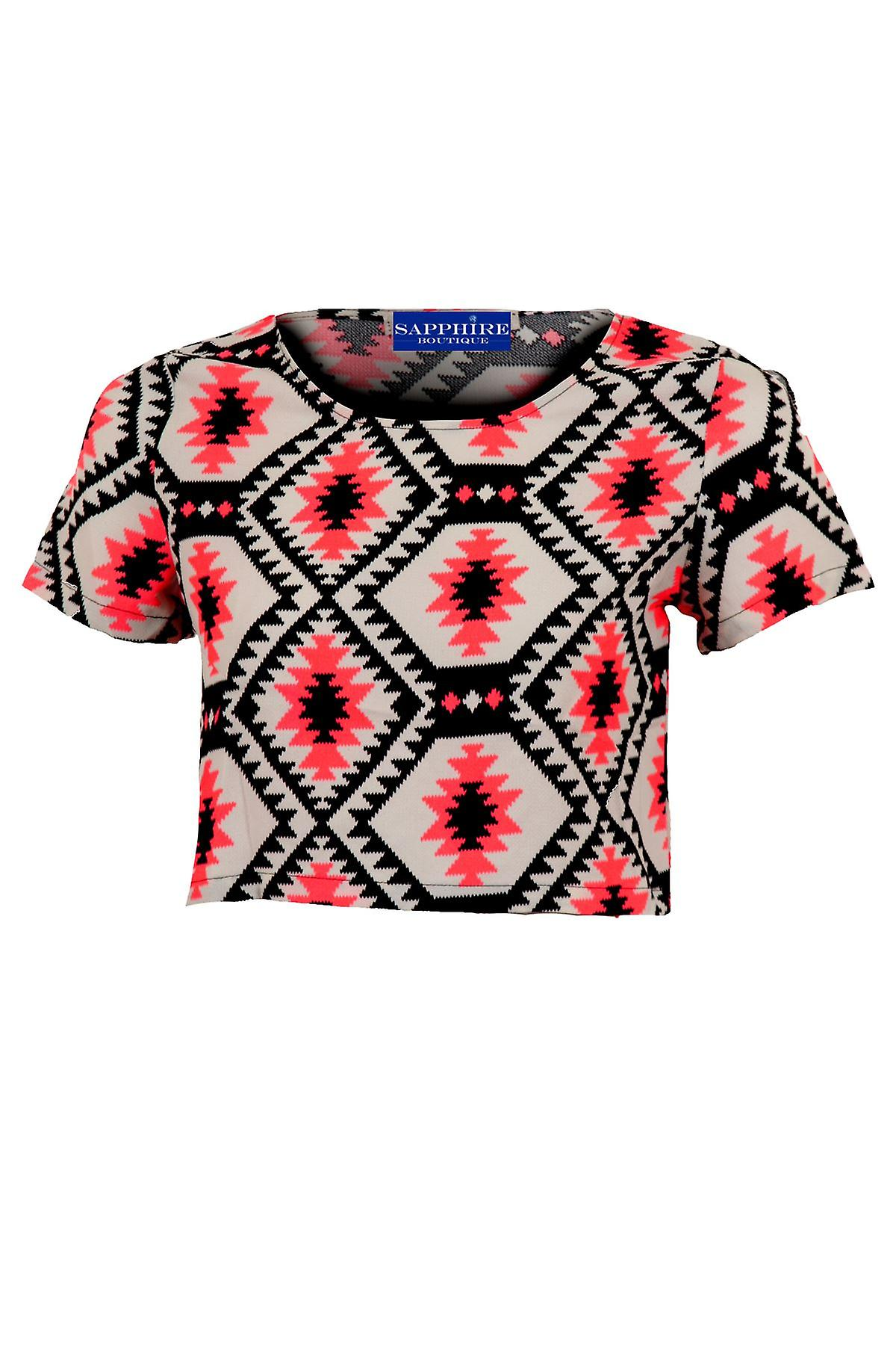 Ladies Short Sleeve Luminous Pink Black Chiffon Baggy Women's Crop Top