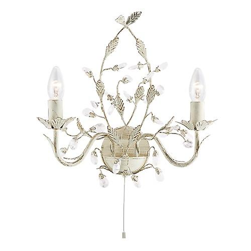 Searchlight 2492-2CR Almandite Switched Shabby Chic Wall Light, Cream/Clear Crystal