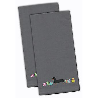 Dachshund Easter Gray Embroidered Kitchen Towel Set of 2