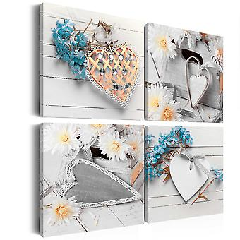 Canvas Print - Flowers and hearts