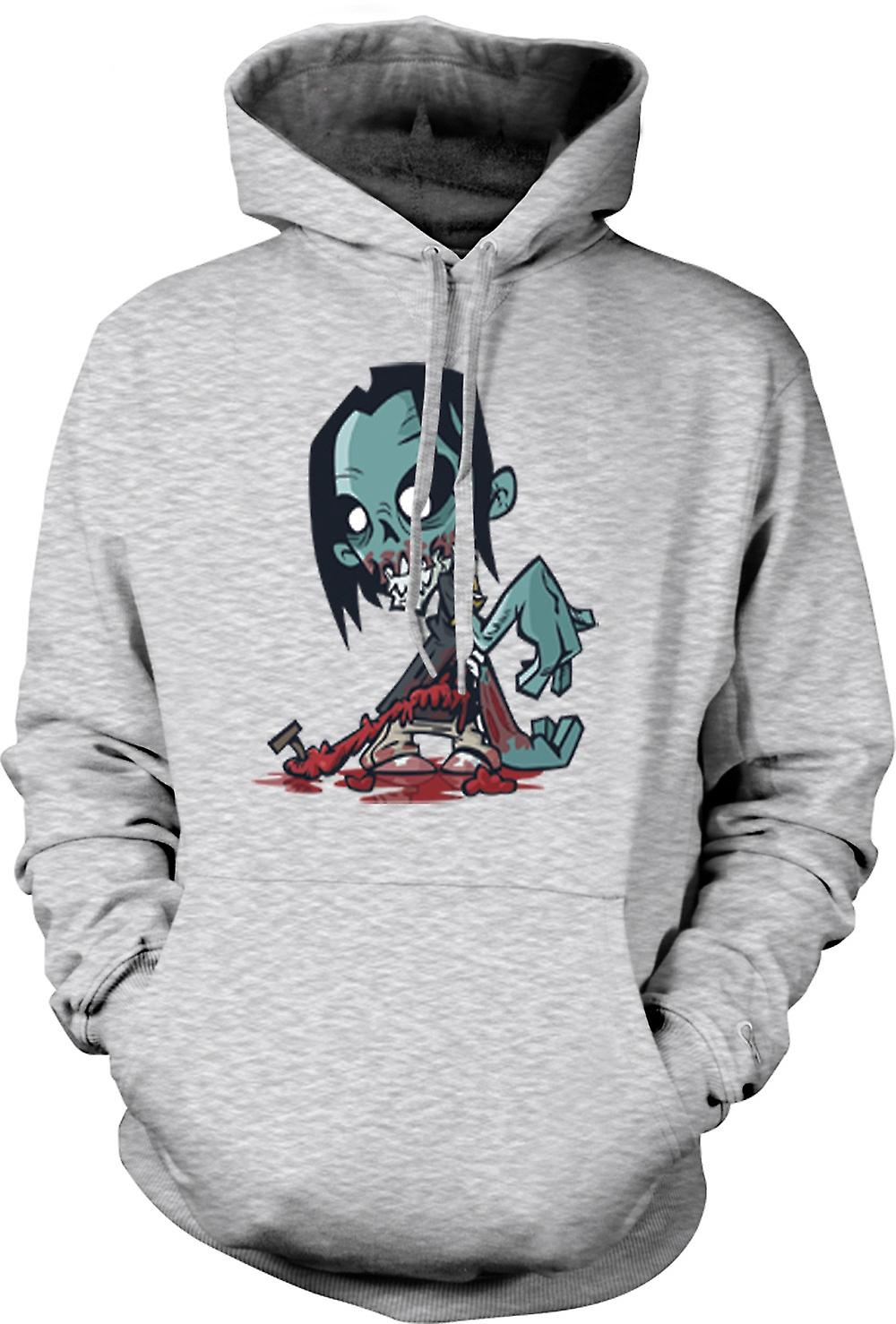 Mens Hoodie - Cartoon Zombie Undead Design