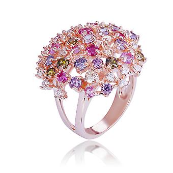 Orphelia Silver 925 Ring Rose Multicolored Stones In Round Shape ZR-7451