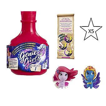 Genie meisjes in een fles collectie 1 Pink-5 X flessen-bundel