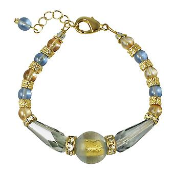 Eternal Collection Vicenza Ice Blue And Gold Venetian Murano Glass Bracelet