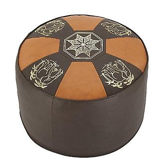 Cushion stools furniture stools pouf ORIENT bright/dark brown round leather