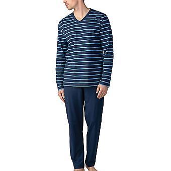 Mey Men 11281-668 Men's Yacht Blue Striped Cotton Pyjama Set