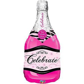 QUALATEX 39 pouces rose pétillante bouteille de vin en forme de feuille ballon
