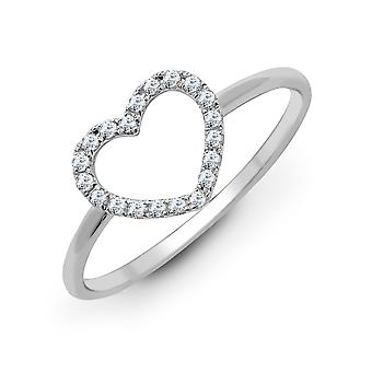 Jewelco London Solid 18ct White Gold Pave Set Round G SI1 0.14ct Diamond Love Heart Halo Dress Ring
