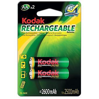 2x Kodak oplaadbare AA batterij NiMH 2600 mAh batterijen