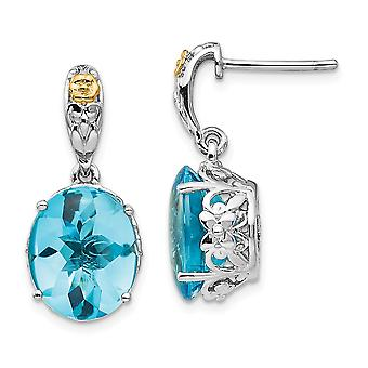 925 Sterling Silver Polished Prong set Post Earrings With 14k Blue Topaz Earrings