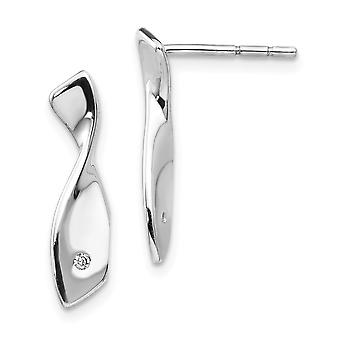 925 Sterling Silver Polished Gift Boxed Post Earrings Rhodium-plated White Ice .02ct. Diamond Earrings