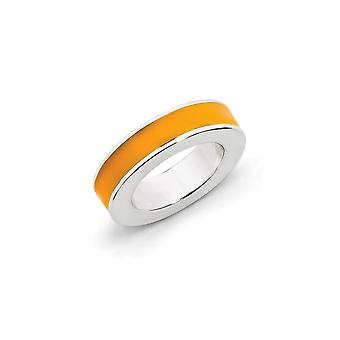 925 Sterling Argento lucidato Rhodium placcato Stackable Expressions Orange Snamel Pendant - 1.4 Grams