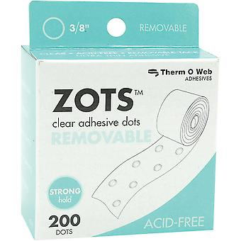 Zots Clear Adhesive Dots Removable 3 8