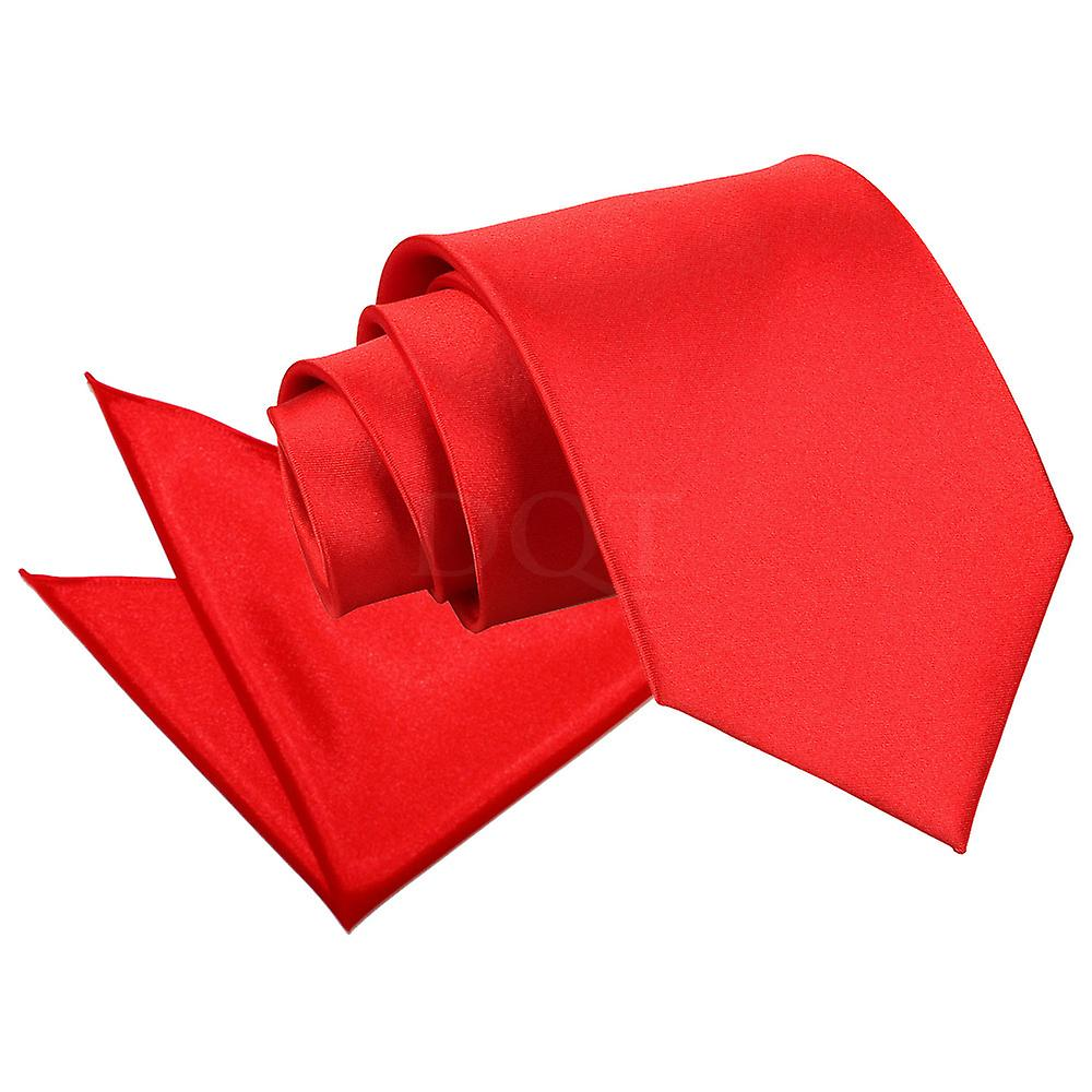 Red Plain Satin Tie and Pocket Square Set