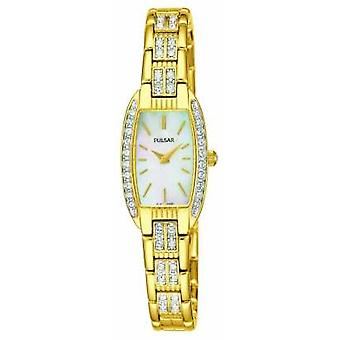 Pulsar Womens Gold Tone Stainless Steel White Mother Of Pearl Dial PEGG76X1 Watch