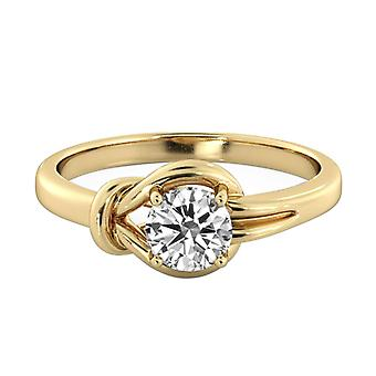1 Carat E SI1 Diamond Engagement Ring 14K Yellow Gold Solitaire Knot 4 prongs