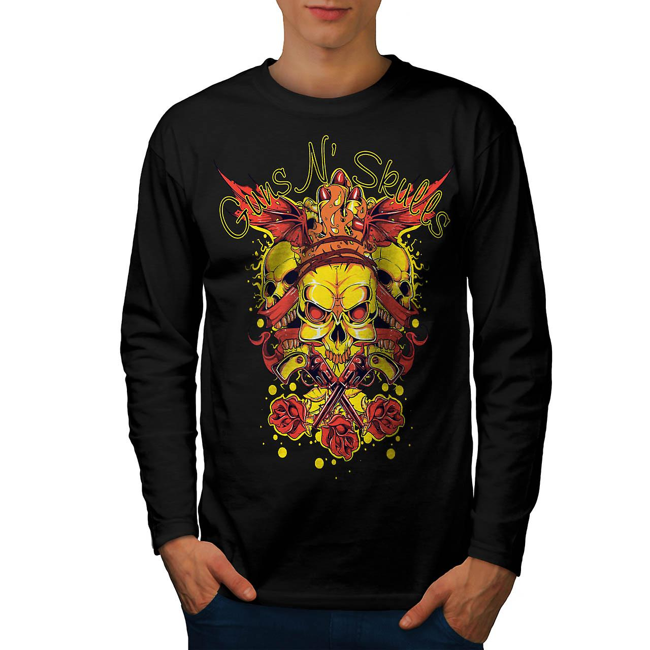 Guns And Skulls Brawl King Demon Men Black Long Sleeve T-shirt | Wellcoda