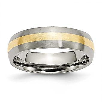Titanium 14k guld indlæg 6mm børstet Band Ring - størrelse 7,5