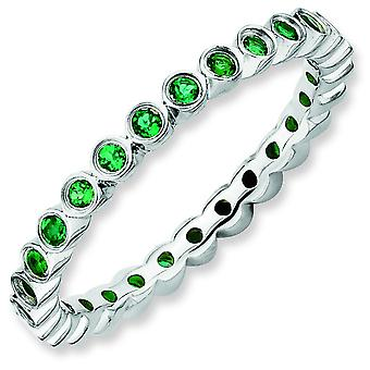 Sterling Silver Bezel Polished Patterned Rhodium-plated Stackable Expressions Created Emerald Ring - Ring Size: 5 to 10