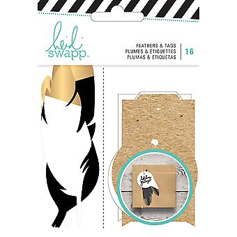 Heidi Swapp Gift Wrapping Embellishments Kit-Feathers W/Gold 16 Pieces HS313228