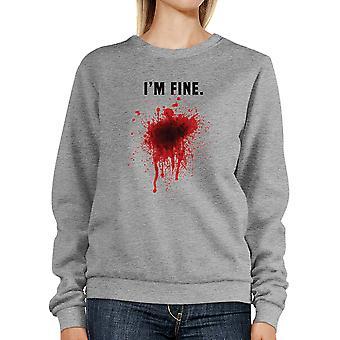Ik ben fijn bloedige Sweatshirt grappige Halloween Pullover Fleece sweater.