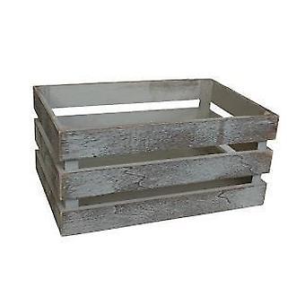 Cassa di legno a doghe d'epoca media