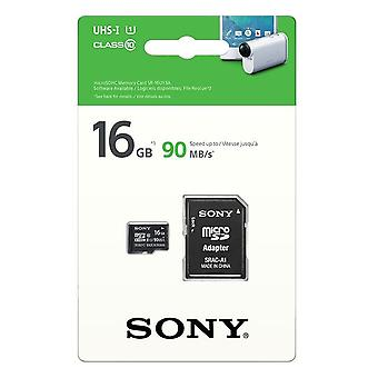 SONY 16GB microSDHC Memory Card with SD Adapter - UHS-I U1 - Class 10 - 90MB/s.
