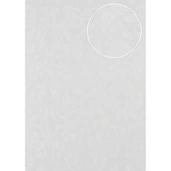 Baroque wallpaper Atlas PRI-545-1 non-woven wallpaper structured in a textile look matte cream perl white creamy white pure white 5.33 m2
