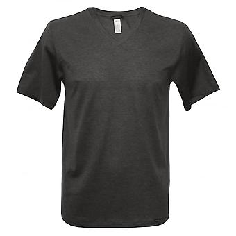 Hanro Sporty Stripe V-Neck Short-Sleeve T-Shirt, Night Grey Melange