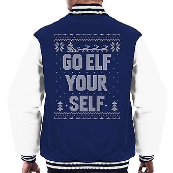 Gå Elf selv Jul Strik mønster mænd Varsity jakke
