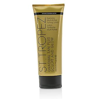 St. Tropez gradvis Tan Plus forme og glød dagligdags multi Active Toning Lotion 01474 200 ml/6.7 oz