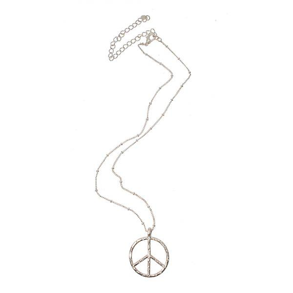 W.A.T Silver Style Crystal Peace Symbol Necklace