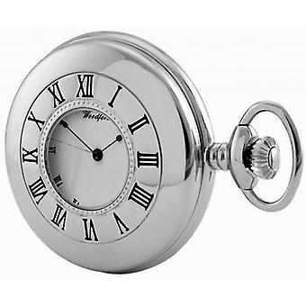 Woodford Chrome Plated Half Hunter Mechanical Pocket Watch - Silver