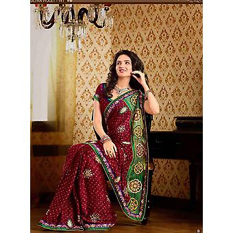 Deepshika Maroon Faux crêpe luxe Party Wear Sari saree