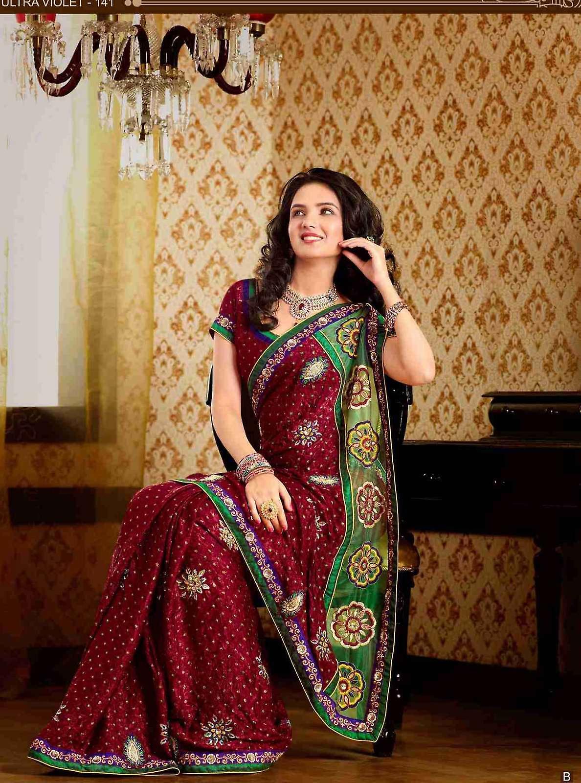 Deepshika Maroon Faux Crepe Luxus Party tragen Sari saree