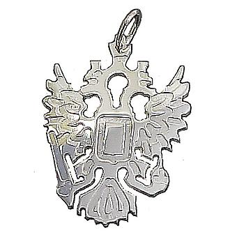 Russian Eagles in solid 925 Sterling Silver Pendant 35 mm