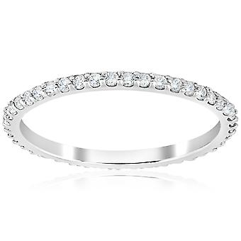 1/2 Ct Diamond Eternity Wedding Stackable Ring 14K White Gold 1.7mm Wide