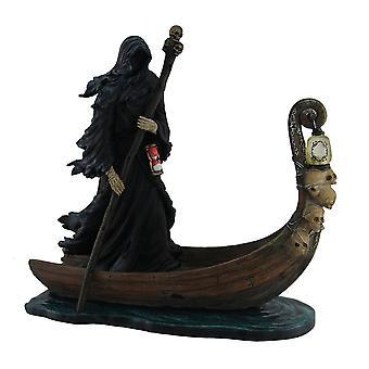 Charon Ferryman of the Dead Propelling Boat Statue w/LED Lantern