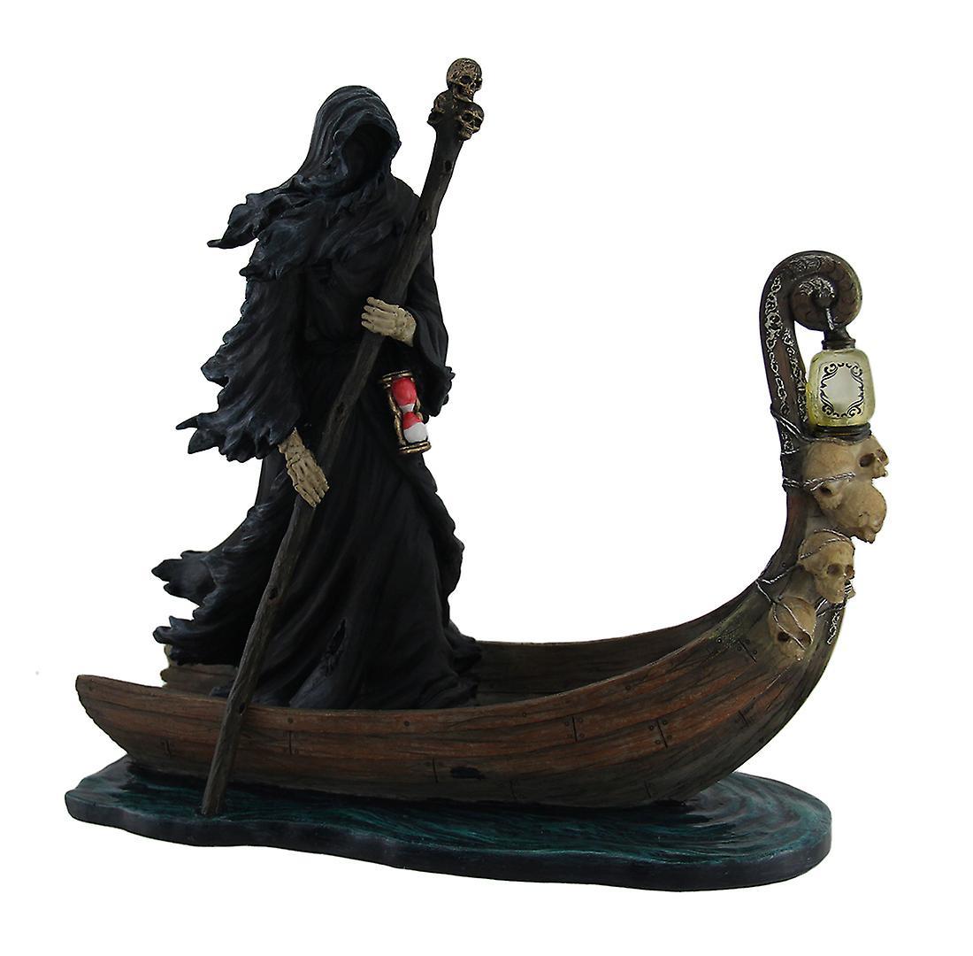 Charon passeur des morts propulsant le bateau Statue w LED lanterne